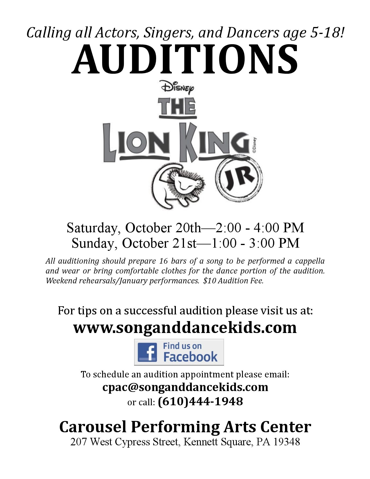 Audition Notice for Lion King Jr